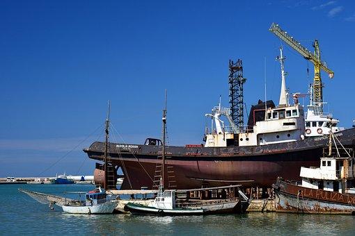 Port, Ships, Shipyard, Rust, Old, Kahn, Mediterranean