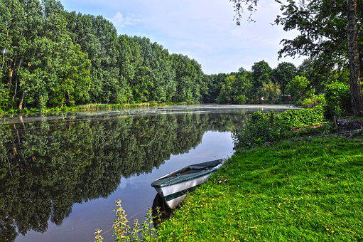 Pond, Water, Boat, Shore, Tree, Reflection, Grass