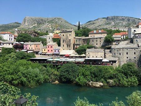 Mostar, River, Bosnia, Islam, Moslem, Architecture