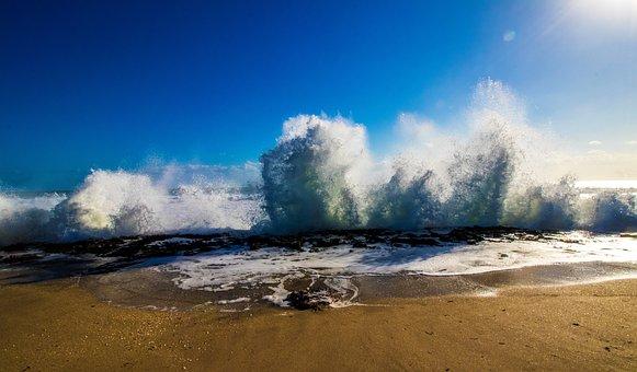 Beach, Waves, Ocean, Sand, Sky, Travel, Seascape