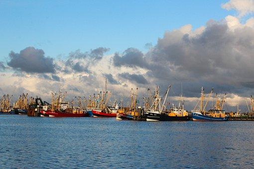Lauwersoog, Port, Ships, Fishing Vessels, Clouds, Sea