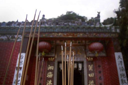 Incense, Macro, Smoke, Stick, Traditional, Temple, Fire