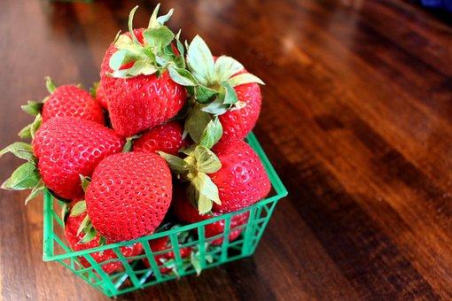 Strawberries, Basket Of Berries, Red, Strawberry
