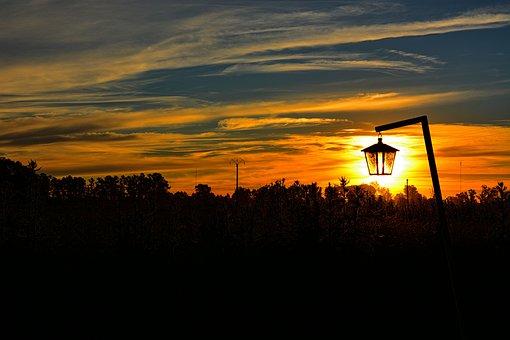 Landscape, Sun, Backlight, Sunset, Setting Sun