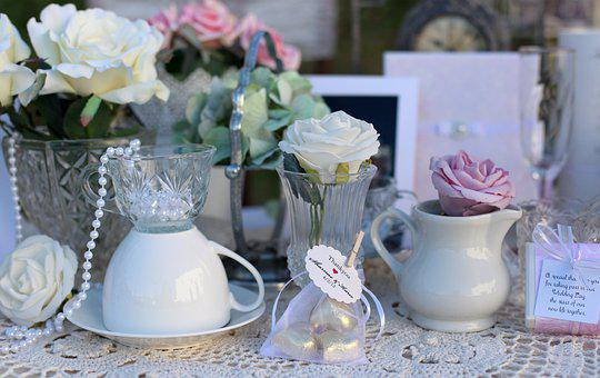 Tea Party, Vintage Wedding, Tea Cups, Flowers