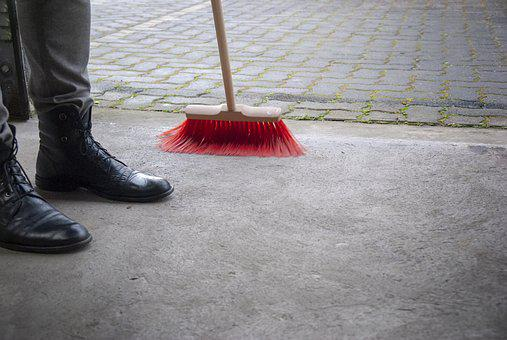Sweeping, The Court, Brush, Clean, Clean Up, Cleaning