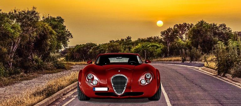 Sunset, Road, Travel, Luxury Car, Vehicle