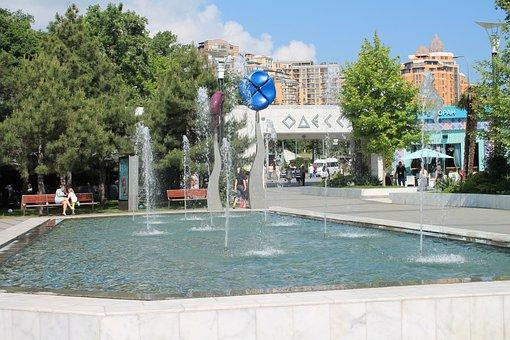 Fountain, Water, Sun, Ukraine, Odessa, Arcadia