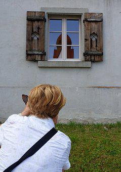Photographer, Window, Wooden, Reflection, Shot, Photo