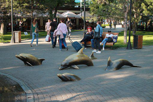 Sculpture, Dolphins, Asphalt, Ukraine, Odessa