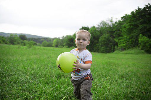 Boy, Baby, Ball, Grass, Kid, View, Kids, Photo
