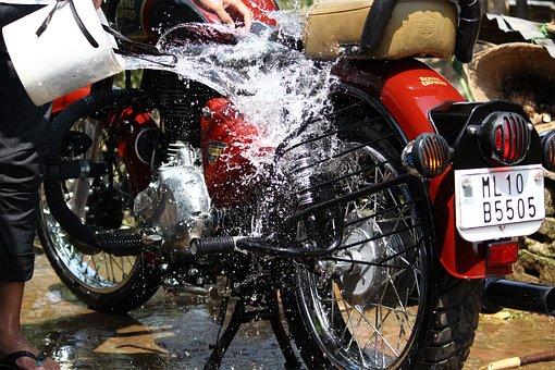 Shillong Water Splash, Bike Royal Enfield, Car Wash