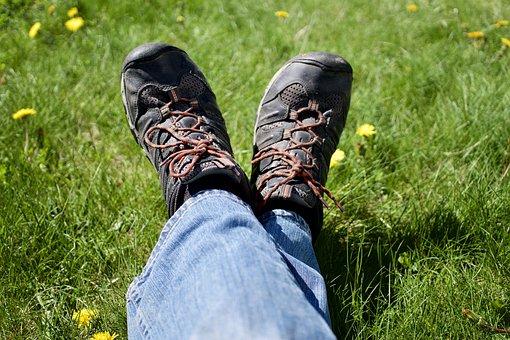 Feet, Relax, Hike, Keen, Grass, Green, Blue, Spring