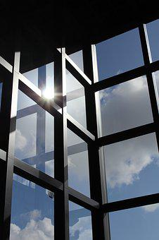 Sky, Clouds, Windows, Glass, Blue, Sun, Chart, Straight