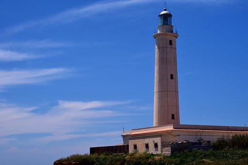 Lighthouse, Tower, Sky, Blue, Coast, Bank, Sea
