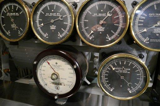 Submarine, Gauge, Dial, Control, Pressure, Antique