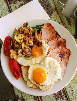 Breakfast, Egg, Mushroom, Tomato, Food, Meal, Dish