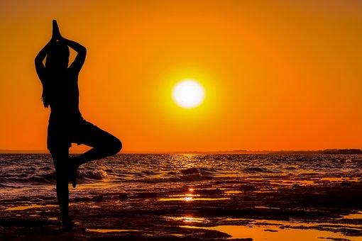 Girl, Sunset, Sea, Meditation, Exercise, Fitness, Sun