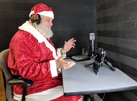 Santa, Santa Claus, Voiceover, Record, Headphones
