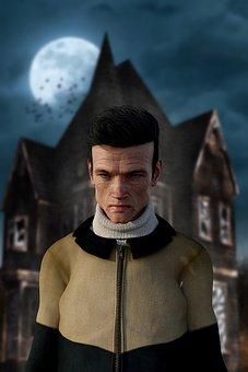 Horror, Portrait, Man, Halloween, Creepy, Bates Hotel