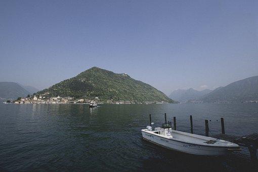Boat, Lake, Island, Blue, Sky, Iseo, Porto, Boat Lake