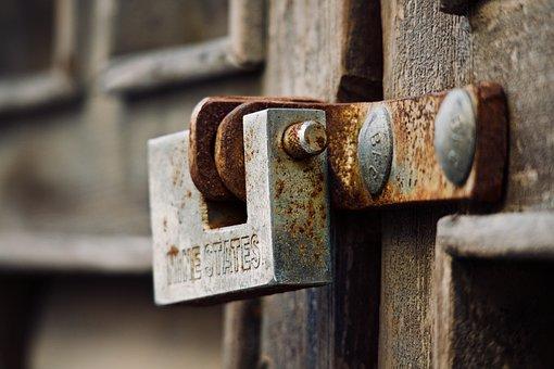Padlock, Rust, Closed, Union, Nails, Iron, Steel