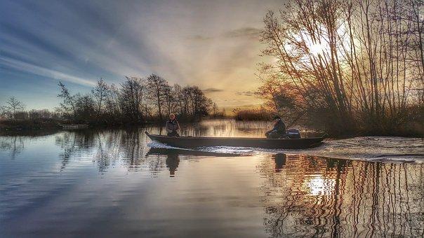 Nieuwkoopse Plassen, Nature, Boat, Sunrise, Morning