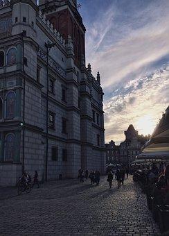 Poznan, City, Poland, Old Market, Evening, People