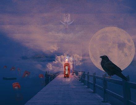 Telephone Both, Red, Surrealism, Raven, Dark