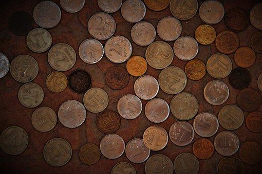 Coin, Ruble, Russia, Russian, Kopek, Handful, Money