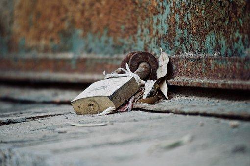 Padlock, Rust, Closed, Iron, Union, Decadence, Door