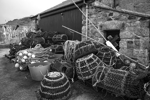 Fishing Nets, Cornwall, Fishing, Net, Sea, Cornish, Pot