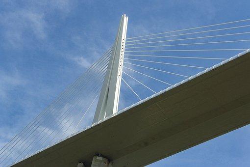 Viaduct, Millau, France, Bridge, Sky
