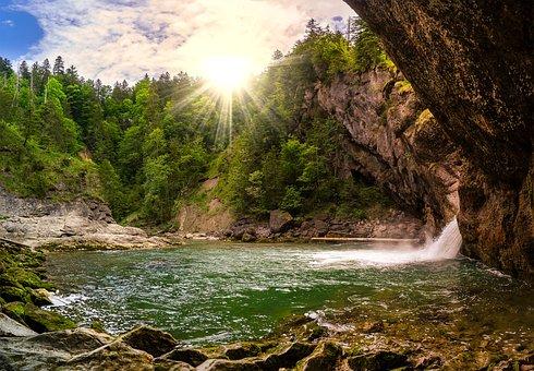 Nature, Waterfall, Landscape, Sunbeam, Waters, Idyll