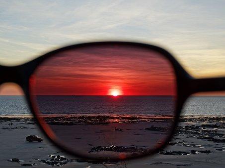 Sunset, Sunglasses, Beach, Summer, Outdoor, Sun, Nature