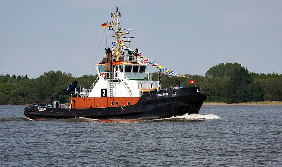 Tug, Shipping, Elbe, Water