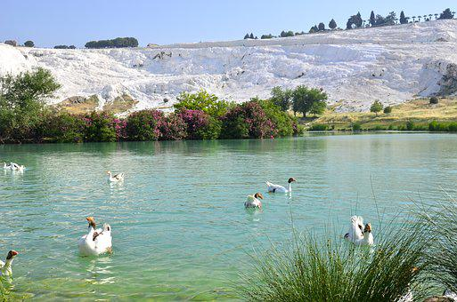 Lake, Landscape, Turkey, Water, Mountain, Pamukkale