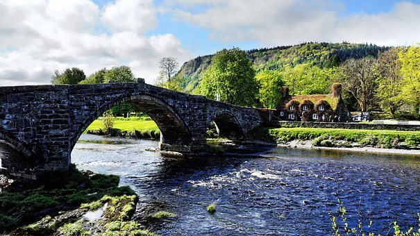 Bridge, Wales, Clouds, River, House, Mountains
