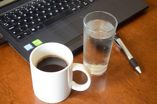 Coffee, Pen, Notebook, Work, Book, Caffeine, Water, Cup