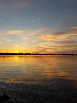Sunset, Lake, Horizon, Relaxing, Peaceful, Water