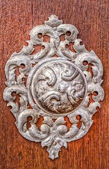 Ornament, Characters, Architecture, Door, Wood, Metal