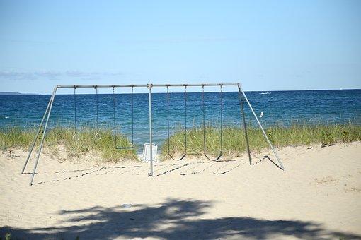 Swings, Beach, Summer, Blue, Lake, Sky, Sand