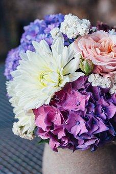 Flowers, Hydrangea, Bouquet, Summer, Blue Hydrangea