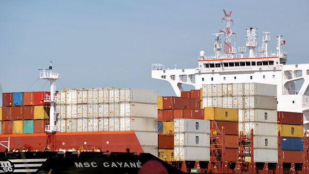Container Ship, Seafaring, Transport, Cargo
