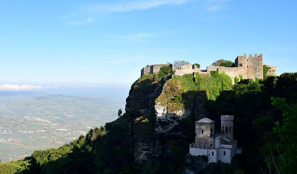 Castle, Erice, Rock, Fortress, View, Italy, Sicily