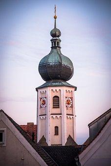 Steeple, Clock, Tower, Catholic, Historic Center