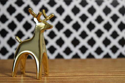 Gold Deer, Wood, Christmas, Deer, Gold, Holiday, New