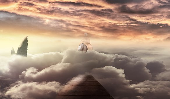 Clouds, Wooden Bridge, Elephant, Mountain Peak