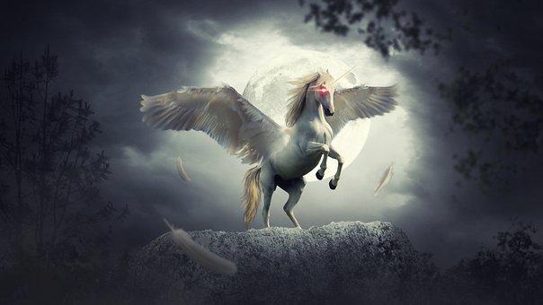 Fantasy, Unicorn, Fairy Tale, Night, Moon, Tree, Horse
