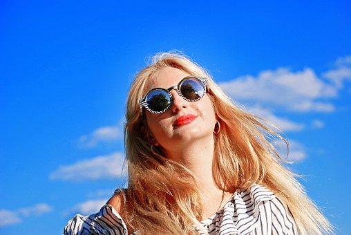 Girl, Glasses, Hair, Woman, Portrait, Fashion, Sun, Sky